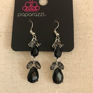 Black and silver dangly earrings